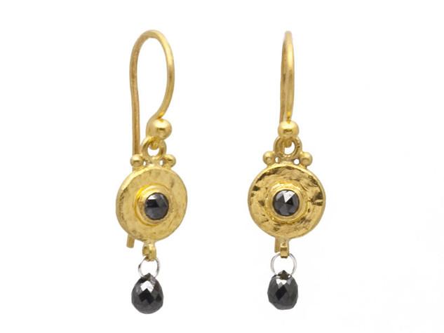 Black Diamond Droplet Earrings