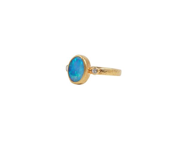 Oval Cabochon cut Opal with Rosecut Diamonds