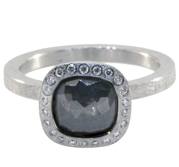 Moss Grey Square Diamond Ring