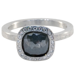 Moss Grey Square Diamond Ring