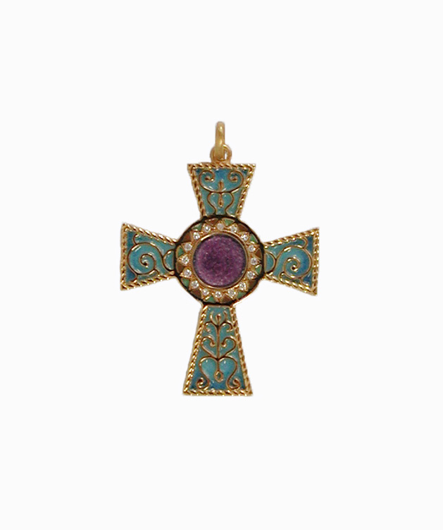 Diamond plique a jour cross pendant