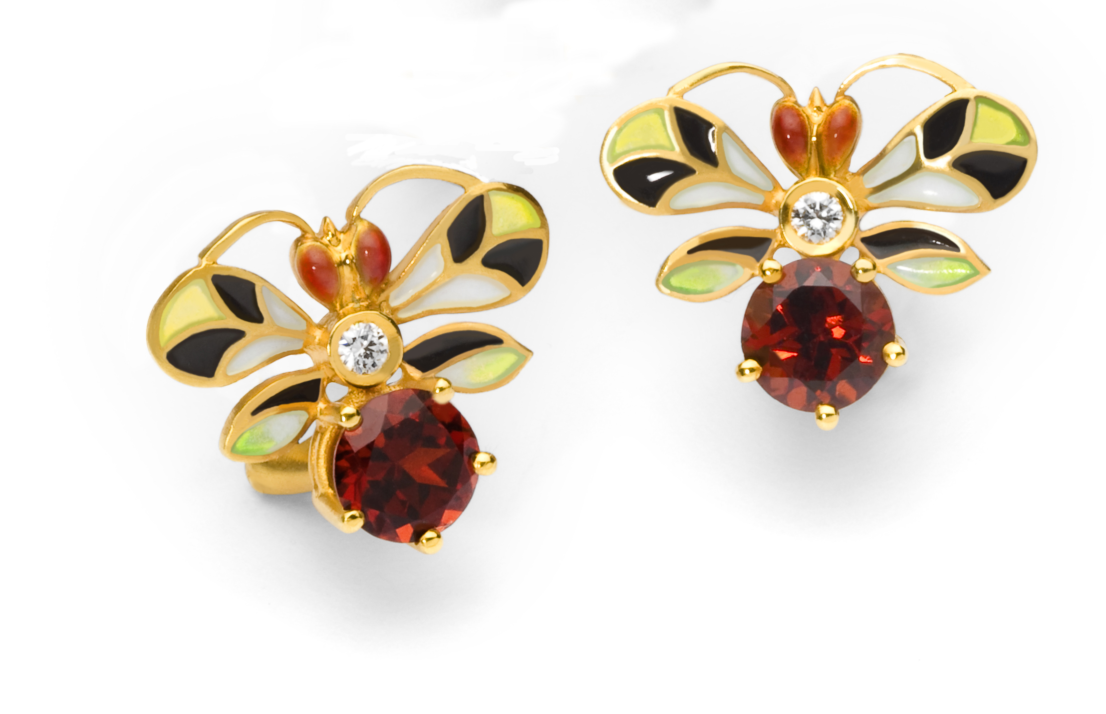 Bee Earrings with Garnet