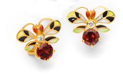 Bee Earrings with Garnet