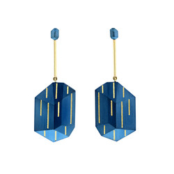 Cobalt Blue Steel Stripes Earrings