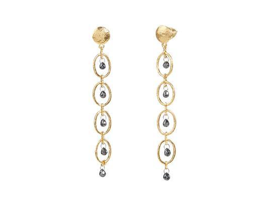 Long Drop Black Diamond Earrings