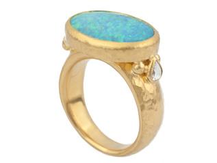 Australian Black Opal Ring with Tear Drop Diamonds