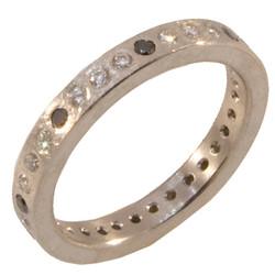 Black & White Diamond Flush Set Ring