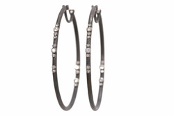 Scattered Diamond Oval Hoop Earrings