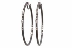 Scattered Diamond Oval Hoop Earrings
