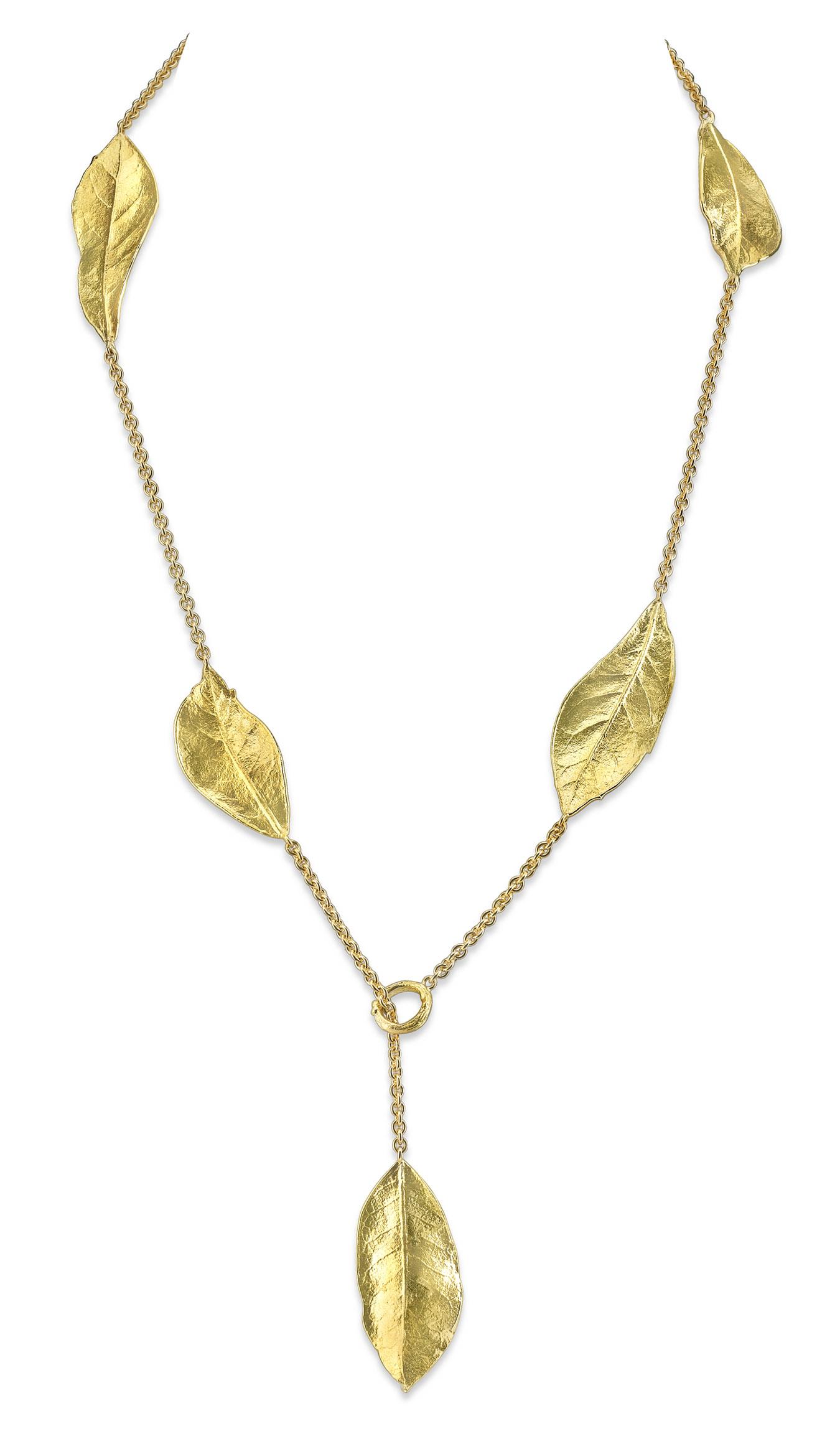Southern Oak Leaf Lariat Necklace