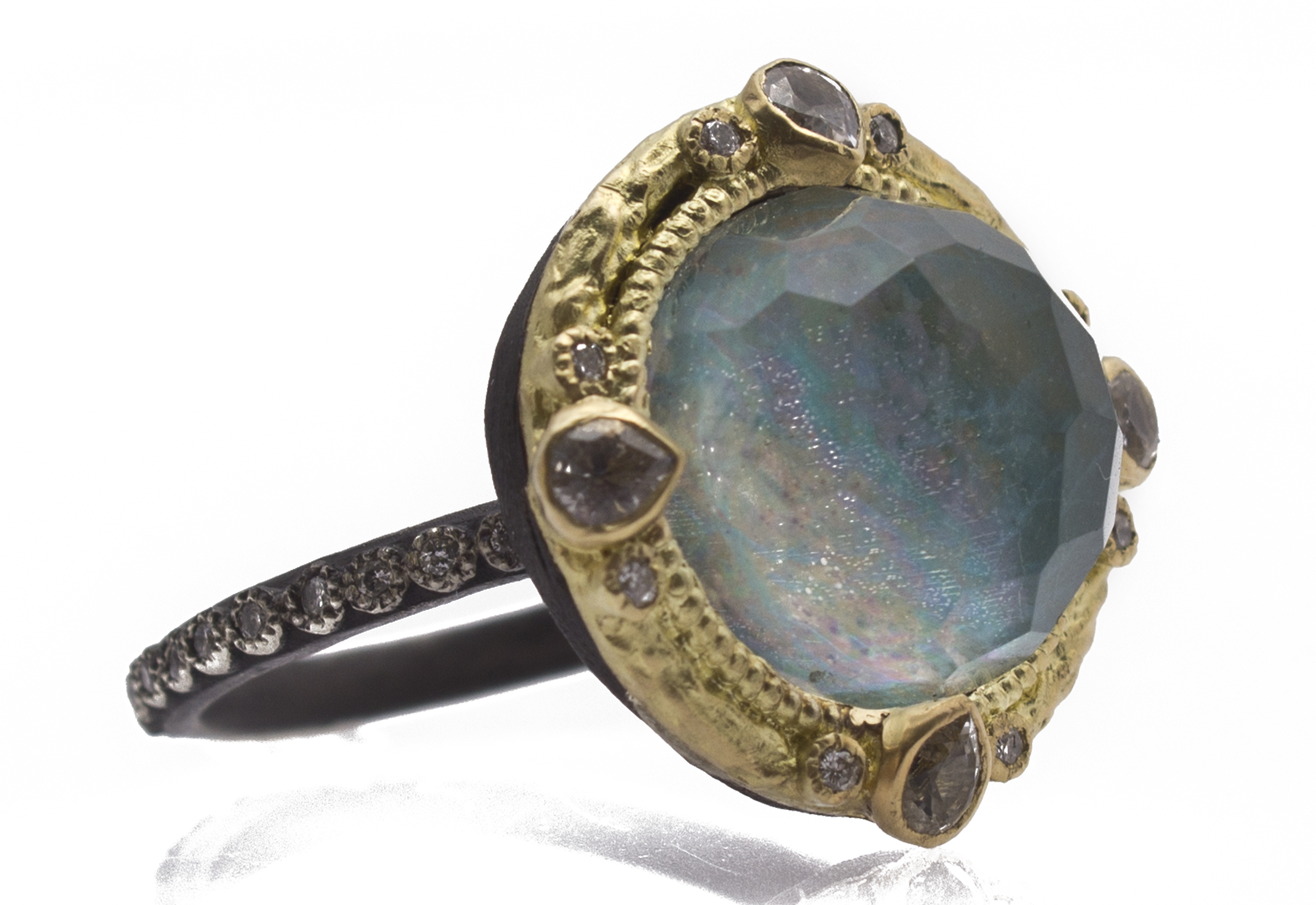 Peruvian Opal Triplet Ring