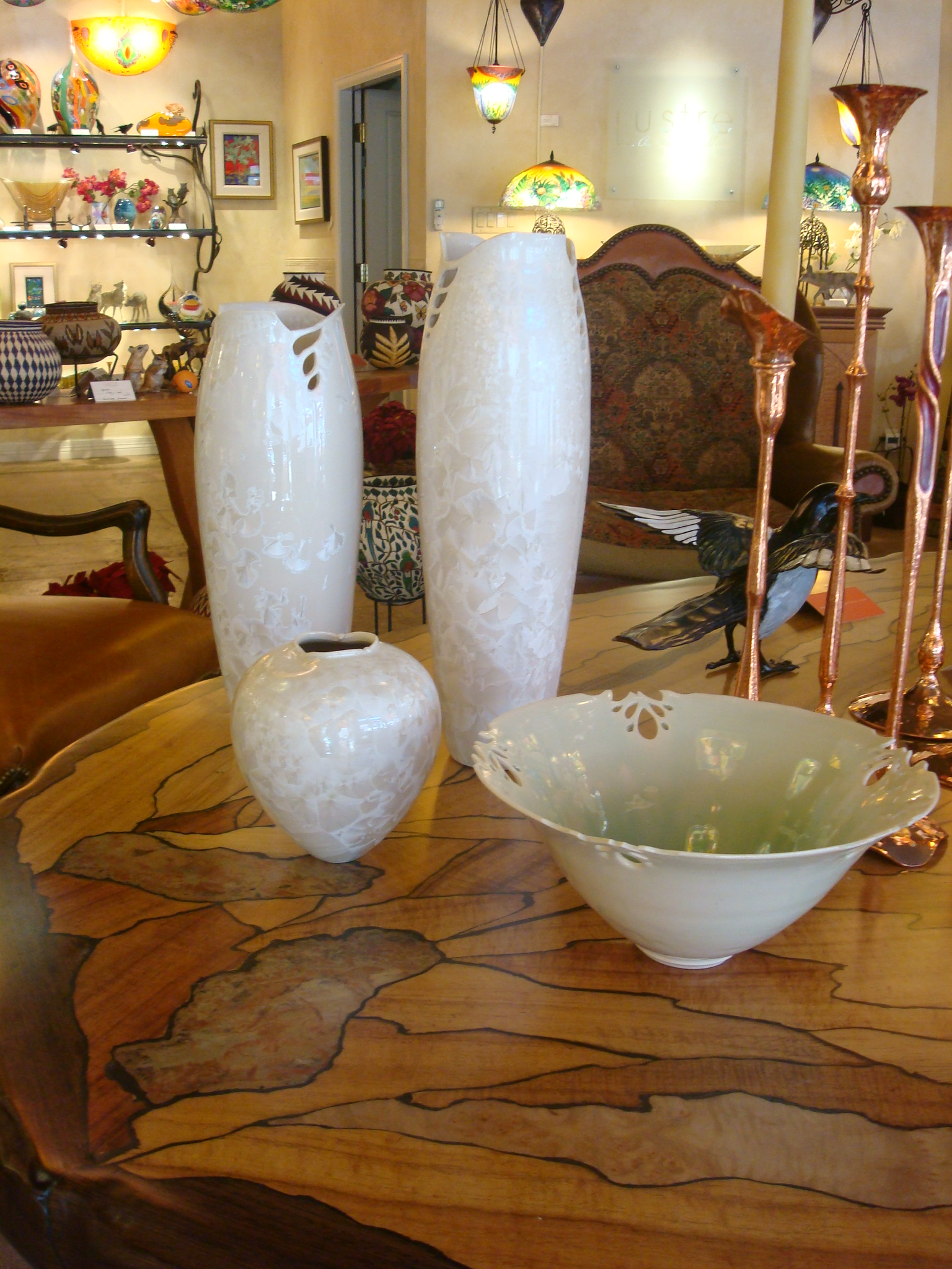 Pearl Cutout Vases and Bowl