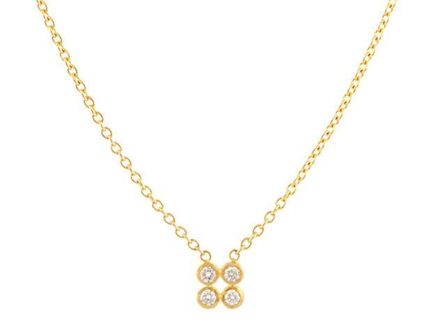 Delicate White Diamond Necklace with 4 Diamonds