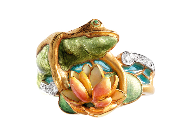Frog on Lotus Blossom Ring