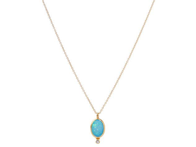 Oval Opal Pendant on Gold Chain