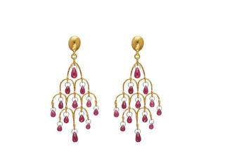 Dew Chandelier Earrings with Ruby Briolettes