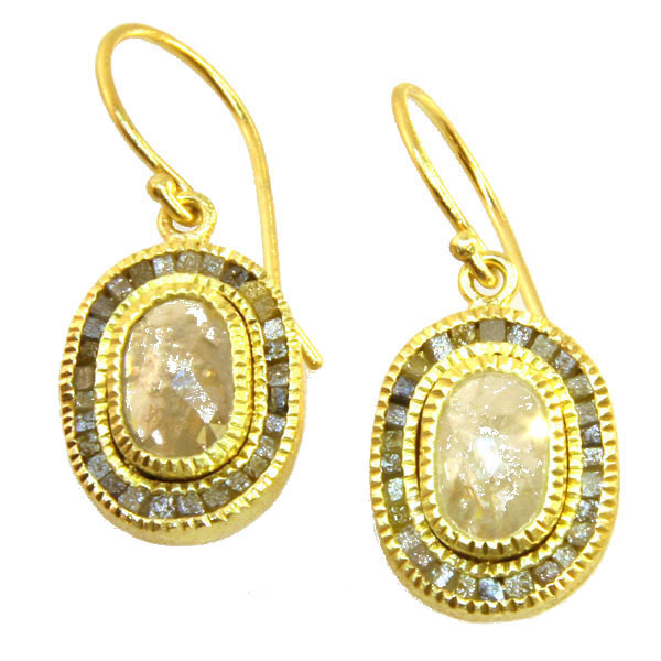 White Speckle Diamond Earrings