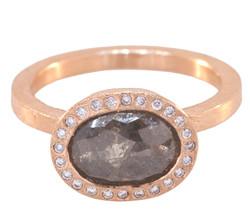 Red/Grey Oval Diamond Ring