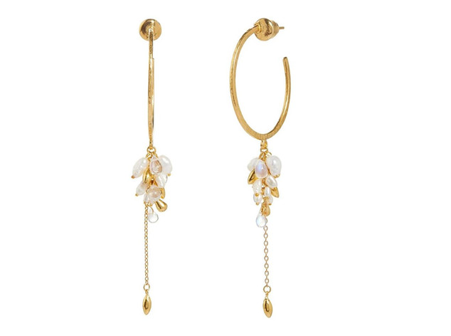 Hoop Earrings with Mixed White Briolette Cluster