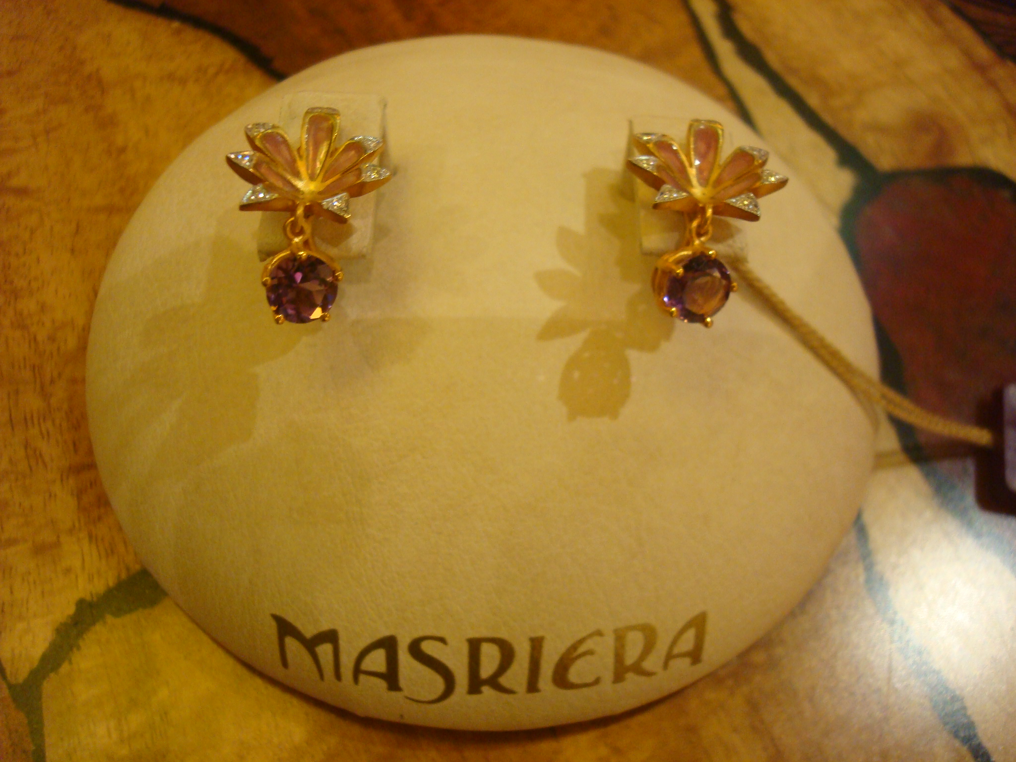Flower earrings with Amethyst Drops