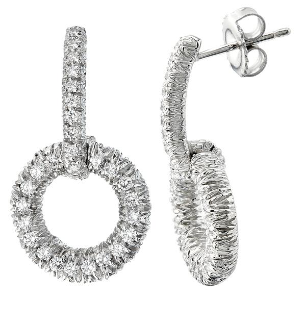 Diamond Bar & Circle Earrings