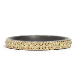 Stack Band with 18ky Gold Scallop