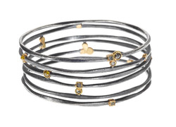 Sterling Bangle with Diamonds