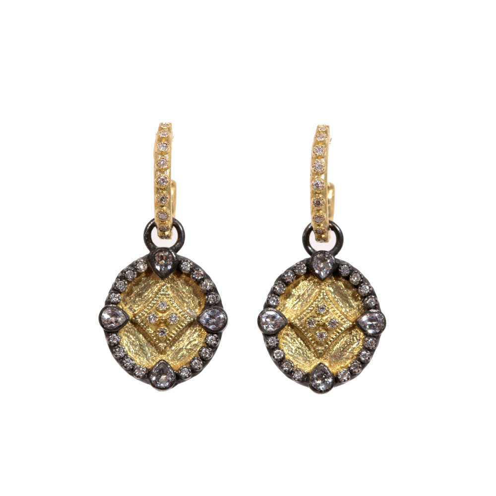 Oval Shield Drop Diamond Earrings