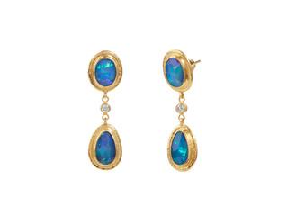 Drop Earrings with Rosecut Opal