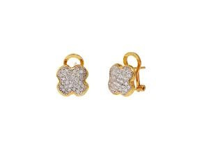 Clover Button Earrings with Diamonds