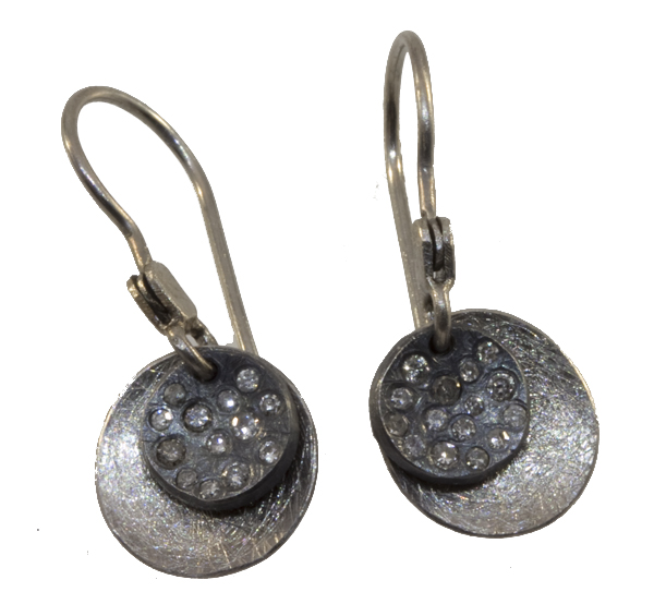 Small Two Disk Earrings, Diamonds