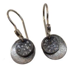 Small Two Disk Earrings, Diamonds