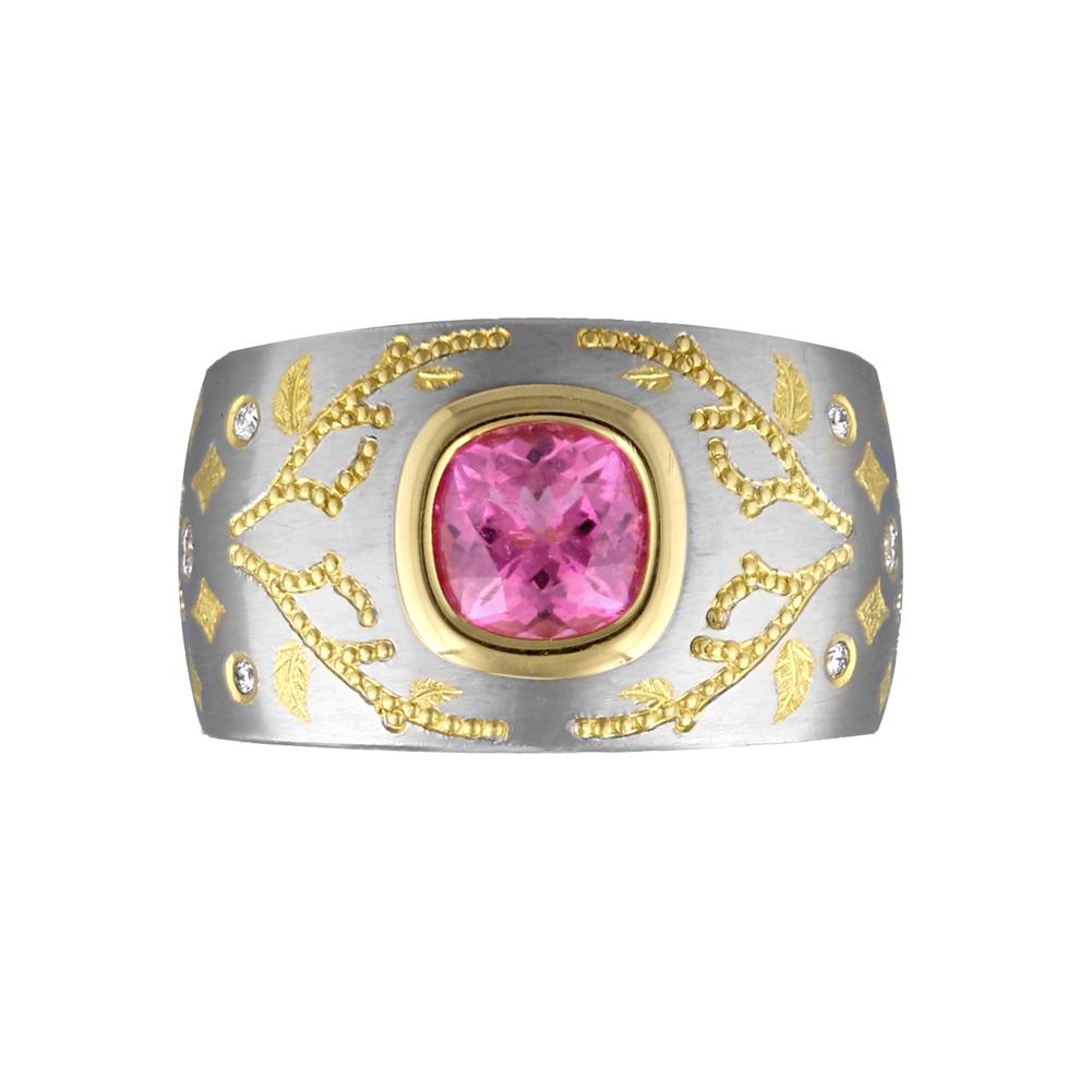 Pink Tourmaline Vine Ring