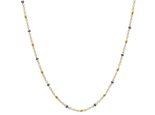 Mini Gold Olives and Blue Sapphire Necklace