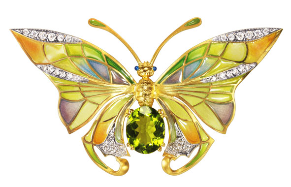 Peridot and Diamond Butterfly