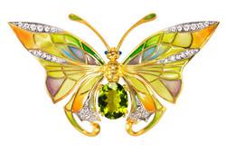 Peridot and Diamond Butterfly