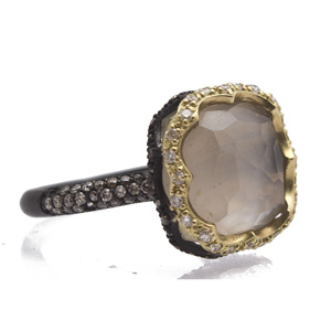 Smoky Quartz Doublet Ring