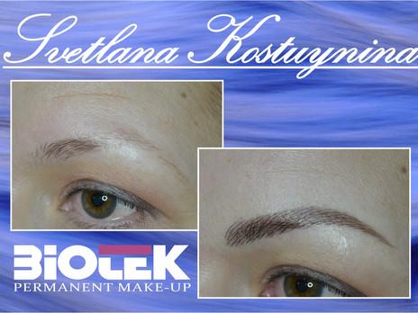 Перманентный макияж бровей - имитация естественных волосков.