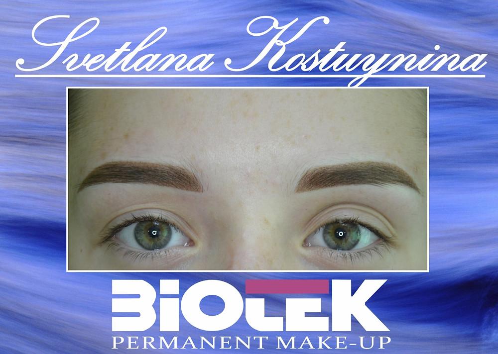 Перманентный макияж (татуаж) бровей методом напыления фото до и после