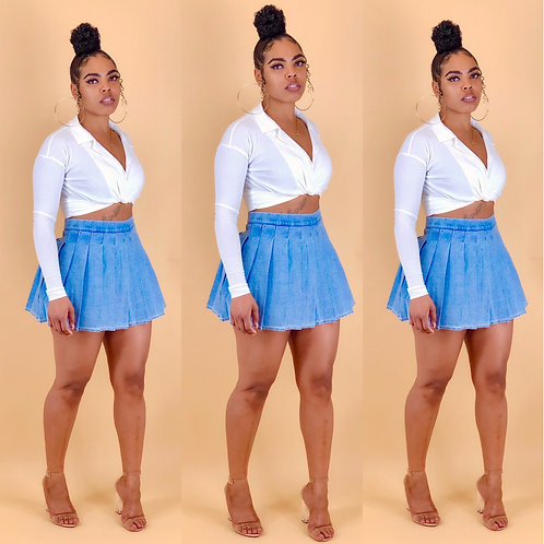 """""""Drika"""" Light Denim Skirt (Pre-Order)"""