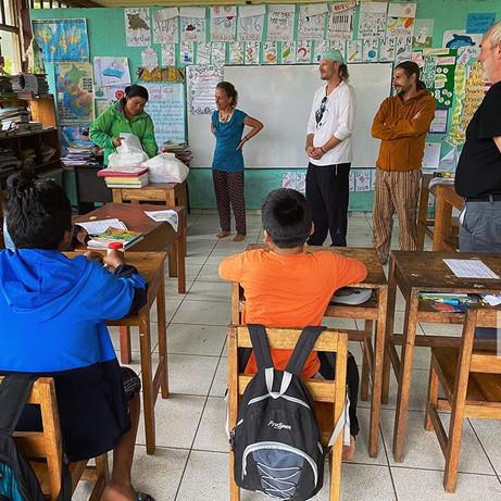 Parign Hak participants gifting supplies to the Queros school