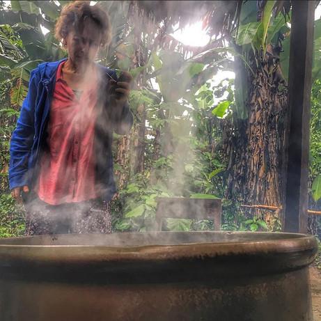 Jessica tending to an Ayahuasca pot