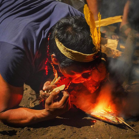 A traditional Wachiperi fire lighting ceremony