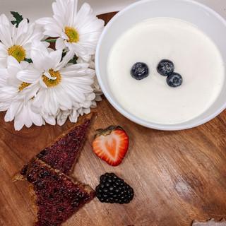 Yogurt with Whole Grain Toast with Jam a