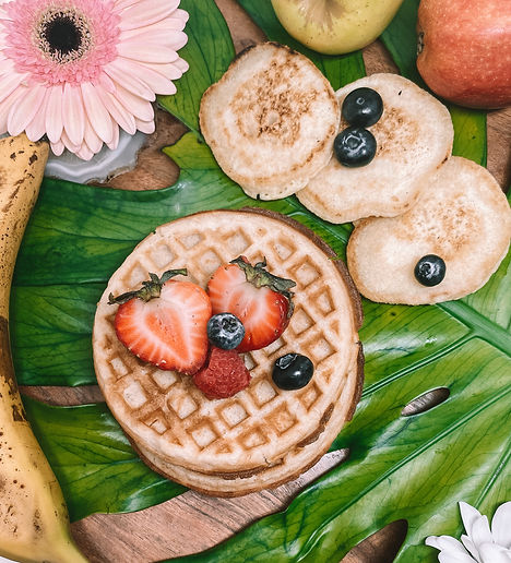 Whole Grain Waffles with Fresh Fruits