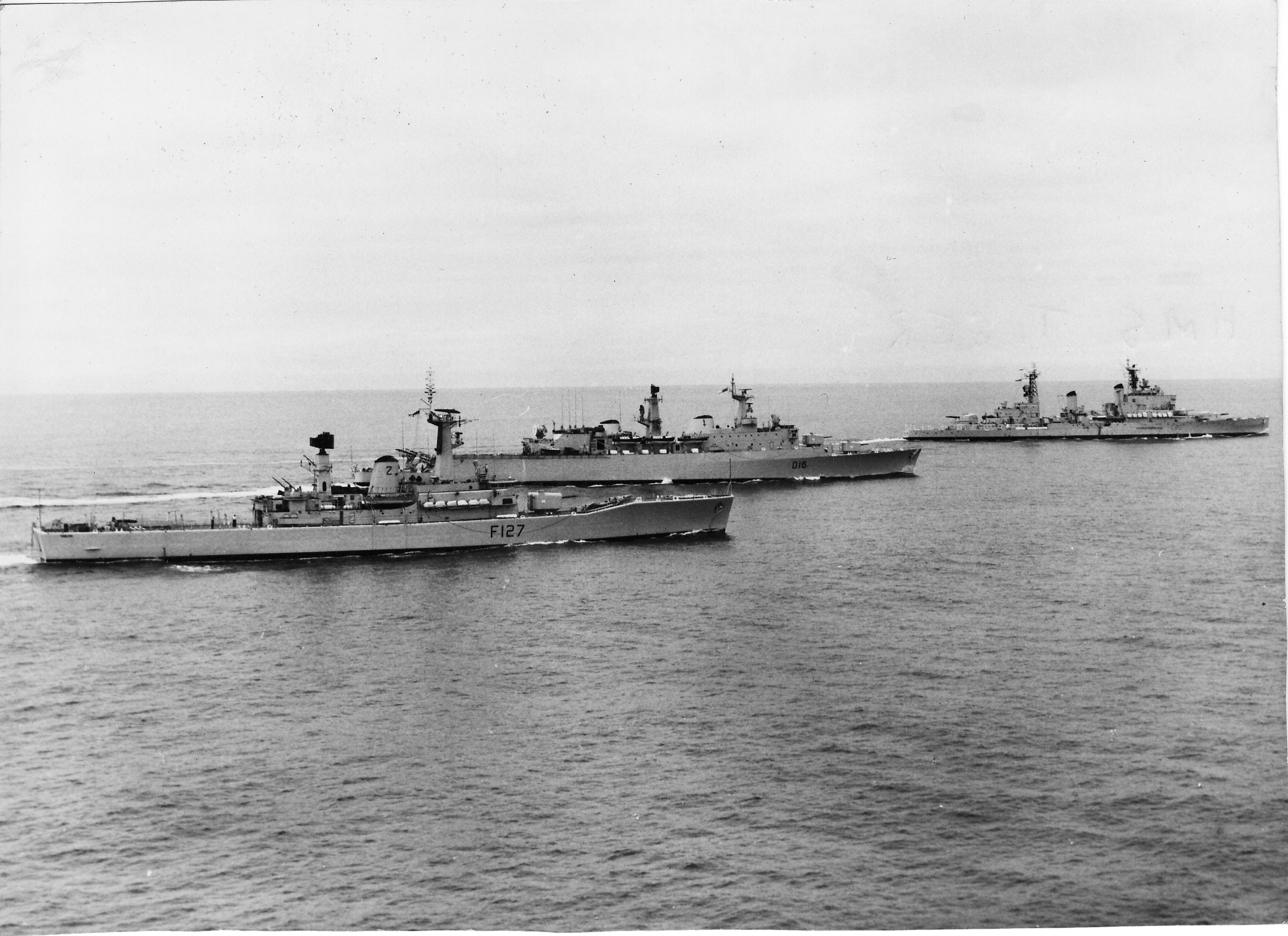 10. Penelope in company with London and Tiger, Pacific on passage to Valparaiso, Chile October 1964