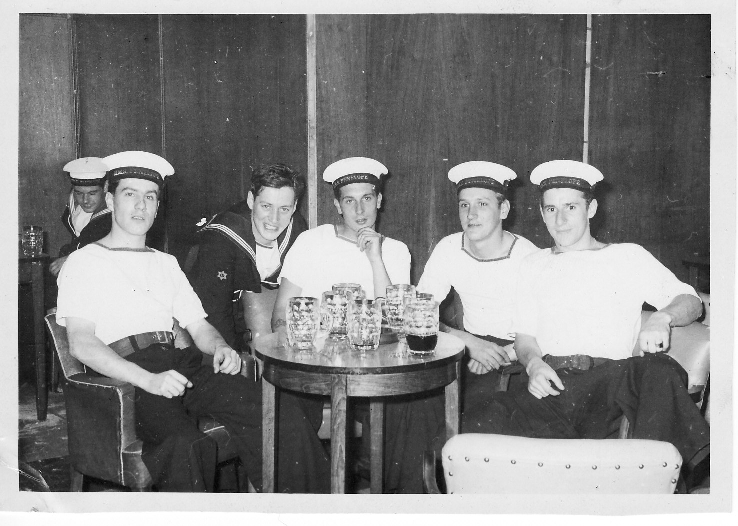 8. NAAFI Plymouth summer 1964, me, Jock Given, Barry Johnson, Thomo., forgotten someone (with drunke