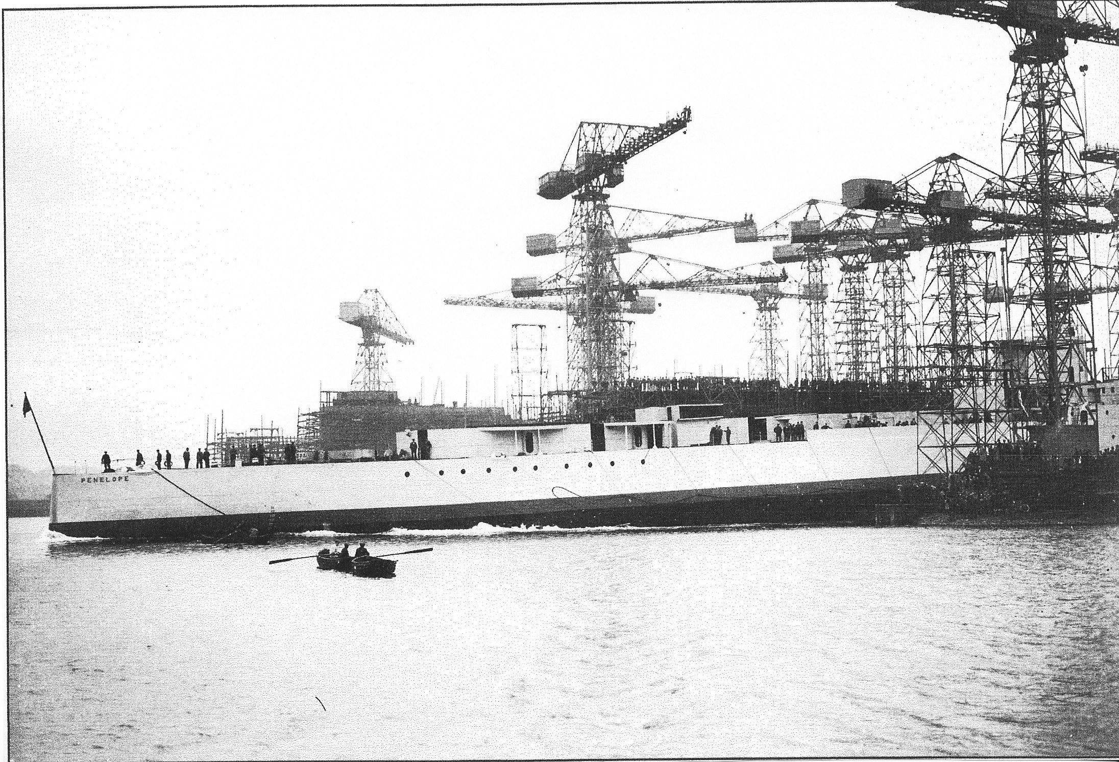 Launch of cruiser Penelope Harland & Wolff Belfast 15 October 1935