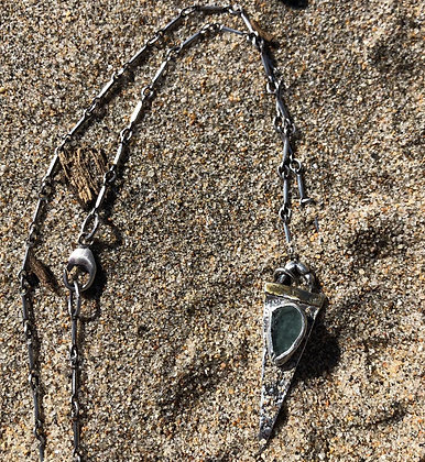 The Sea Urchin + Sea Glass Spear Necklace