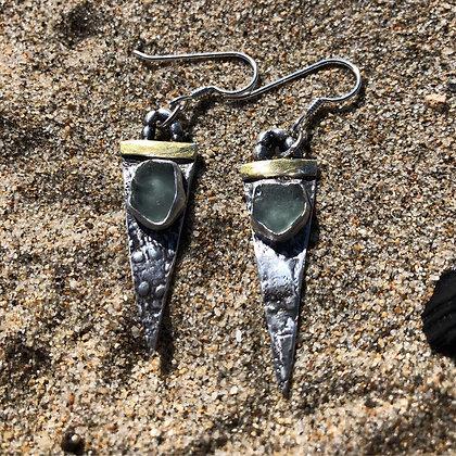 The Ocean Spear Earrings - Sea Urchin + Sea Glass